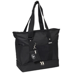 #1002DLX/BLACK/CASE - Zippered Bottom Compartment Large Tote Bag - Case of 30 Large Tote Bags