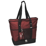 #1002DLX/BURGUNDY/CASE - Zippered Bottom Compartment Large Tote Bag - Case of 30 Tote Bags