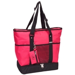 #1002DLX/HOT PINK/CASE - Zippered Bottom Compartment Large Tote Bag - Case of 30 Tote Bags