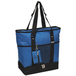#1002DLX/ROYAL BLUE/CASE - Zippered Bottom Compartment Large Tote Bag - Case of 30 Tote Bags