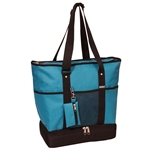 #1002DLX/TURQUOISE/CASE - Zippered Bottom Compartment Large Tote Bag - Case of 30 Tote Bags