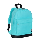 #10452/AQUA BLUE BLACK/CASE - Mini Backpack with Front Zippered Pocket - Case of 30 Backpacks