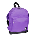 #10452/PURPLE BLACK/CASE - Mini Backpack with Front Zippered Pocket - Case of 30 Backpacks