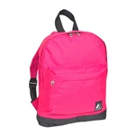 #10452/HOT PINK BLACK/CASE - Mini Backpack with Front Zippered Pocket - Case of 30 Backpacks