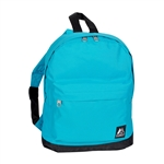#10452/TURQUOISE BLACK/CASE - Mini Backpack with Front Zippered Pocket - Case of 30 Backpacks