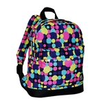 #10452P/MULTI DOT/CASE - Small/Junior Pattern Backpack with Front Pocket - Case of 30 Backpacks