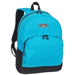 #1045A/TURQUOISE BLACK/CASE - Classic Backpack with Front Organizer - Case of 30 Backpacks