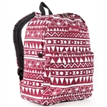 #2045P/BURGUNDY WHITE ETHNIC/CASE - Classic Pattern Backpack - Case of 30 Backpacks