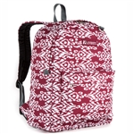 #2045P/BURGUNDY WHITE IKAT/CASE - Classic Pattern Backpack - Case of 30 Backpacks