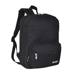 #2045S/BLACK/CASE - Small/Junior Backpack with Two Front Zippered Pockets - Case of 30 Backpacks