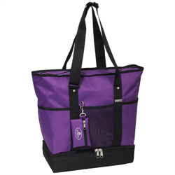 #1002DLX-DARK PURPLE - Zippered Bottom Compartment Large Tote Bag