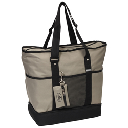#1002DLX-KHAKI - Zippered Bottom Compartment Large Tote Bag