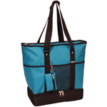 #1002DLX-TURQUOISE - Zippered Bottom Compartment Large Tote Bag
