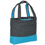 #1002TB-CHARCOAL/BLUE - Trendy Tablet Tote Bag