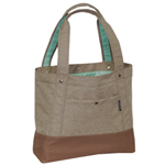 #1002TB-TAN/BROWN - Trendy Tablet Tote Bag
