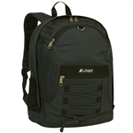 #3045SH/BLACK/CASE - Two-Tone Backpack with Mesh Pockets - Case of 30 Backpacks