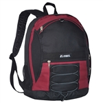 #3045SH/BURGUNDY BLACK/CASE - Two-Tone Backpack with Mesh Pockets - Case of 30 Backpacks