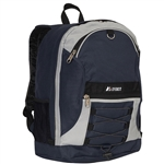 #3045SH/GRAY NAVY/CASE - Two-Tone Backpack with Mesh Pockets - Case of 30 Backpacks
