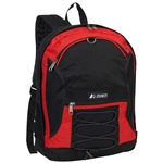 #3045SH/RED BLACK/CASE - Two-Tone Backpack with Mesh Pockets - Case of 30 Backpacks
