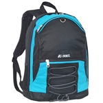 #3045SH/TURQUOISE BLACK/CASE - Two-Tone Backpack with Mesh Pockets - Case of 30 Backpacks