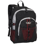 #3045W/BURGUNDY GRAY BLACK/CASE - Large Storage Backpack with Organizer - Case of 30 Backpacks