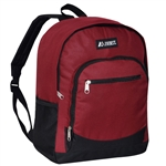 #6045/BURGUNDY/CASE - Casual Backpack with Dual Side Mesh Pockets - Case of 30 Backpacks