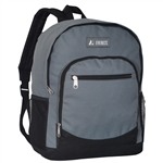 #6045/GRAY/CASE - Casual Backpack with Dual Side Mesh Pockets - Case of 30 Backpacks