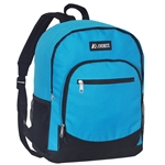 #6045/TURQUOISE/CASE - Casual Backpack with Dual Side Mesh Pockets - Case of 30 Backpacks