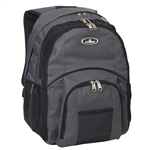 #7045LT/CHARCOAL/CASE - Double Compartment Backpack with Laptop Storage - Case of 20 Backpacks