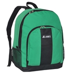 #BP2072/EMERALD GREEN BLACK/CASE - Backpack with Front & Side Pockets - Case of 30 Backpacks
