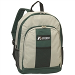 #BP2072/GRAY GREEN/CASE - Backpack with Front & Side Pockets - Case of 30 Backpacks