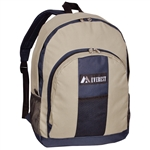#BP2072/KHAKI NAVY/CASE - Backpack with Front & Side Pockets - Case of 30 Backpacks
